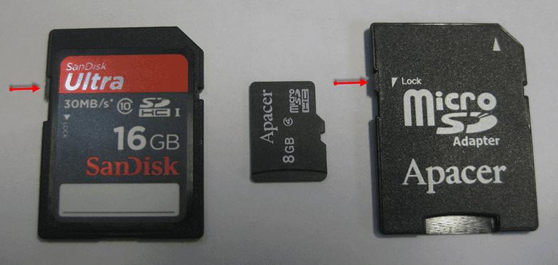 Disk yazma korumalı SD kartlar