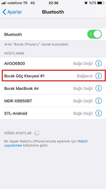 iPhone'a bluetooth ile klavye bağlamak